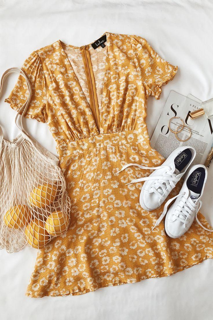 Photo of Garden Explorer Mustard Yellow Floral Print Mini Dress #dress #explorer #floral …