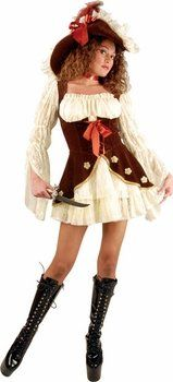 no hat teen suede lacy pirate costume size teen 3 5 - Teenage Girl Pirate Halloween Costumes