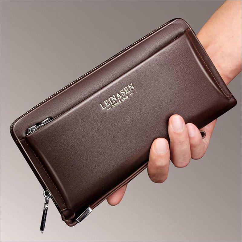 3734f40f6faf Men Clutch Bag Genuine Leather Cell Phone Key Handbag Cow Leather Long  Wallet  LEINASEN  ClutchLongWallet