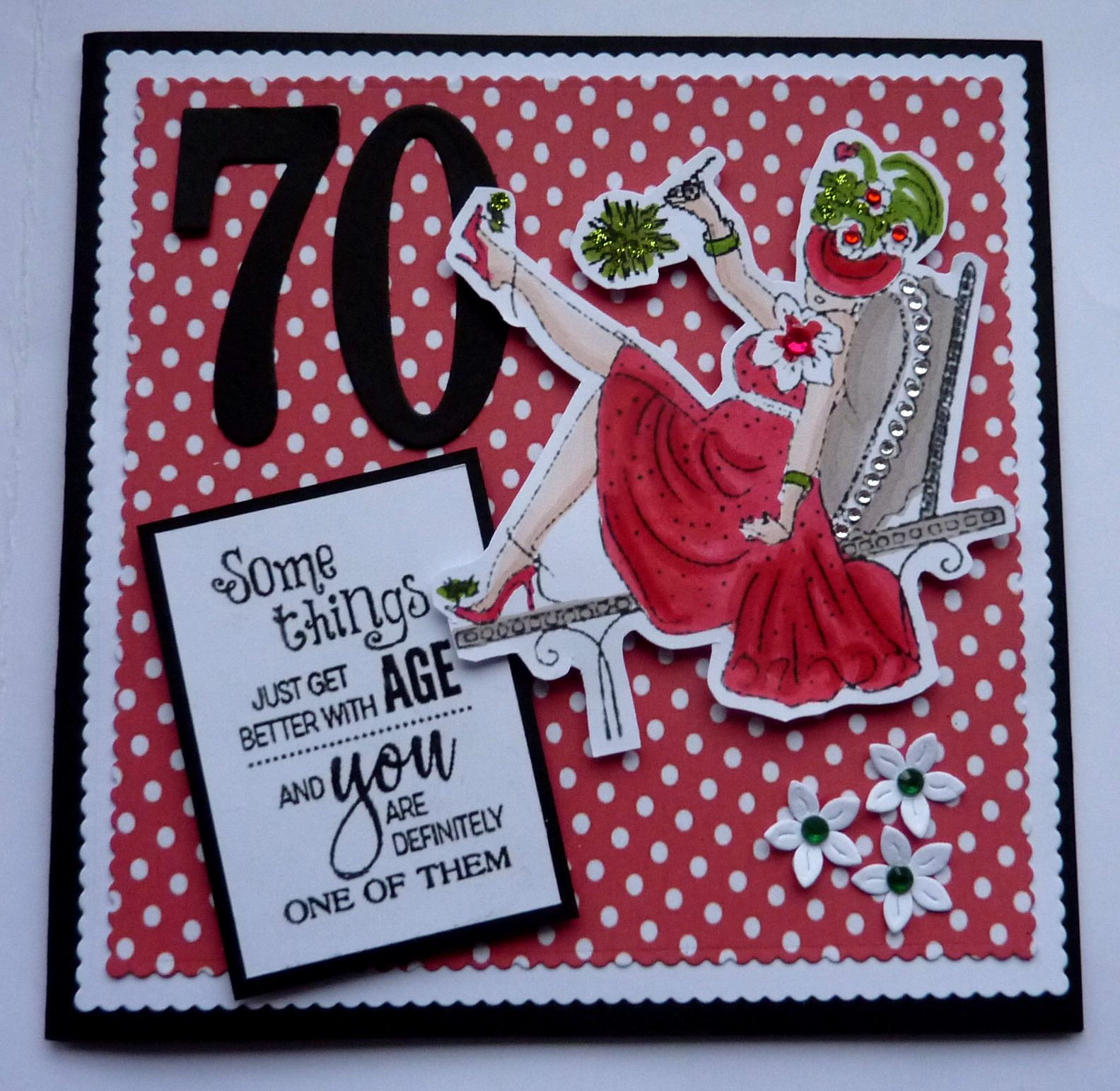 S301 Hand Made 70th Birthday Card Using Penny Black Stamp Cards
