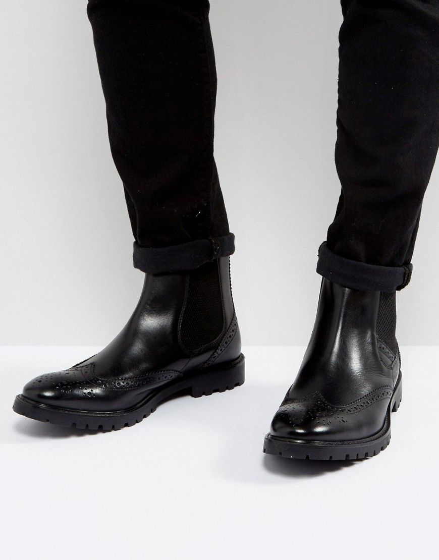 Base London Bosworth Leather Brogue Chelsea Boots In sbIQbs