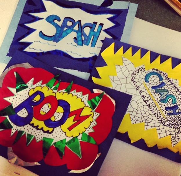 5th Grade Roy Lichtenstein Inspired Pop Art Words. Check