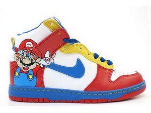 newest b23a5 ddd56 Stylish Kids Nike Dunk High Top Custom Super Mario White Red Shoes