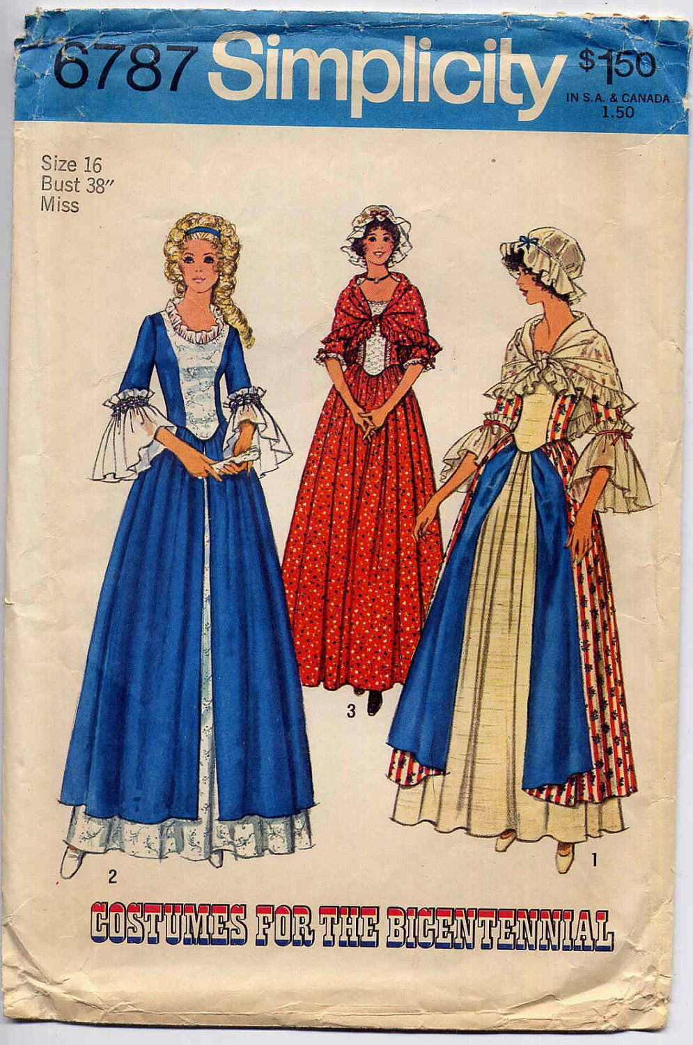 Vintage Colonial Dress, Overskirt, Hat Costume Pattern Simplicity ...