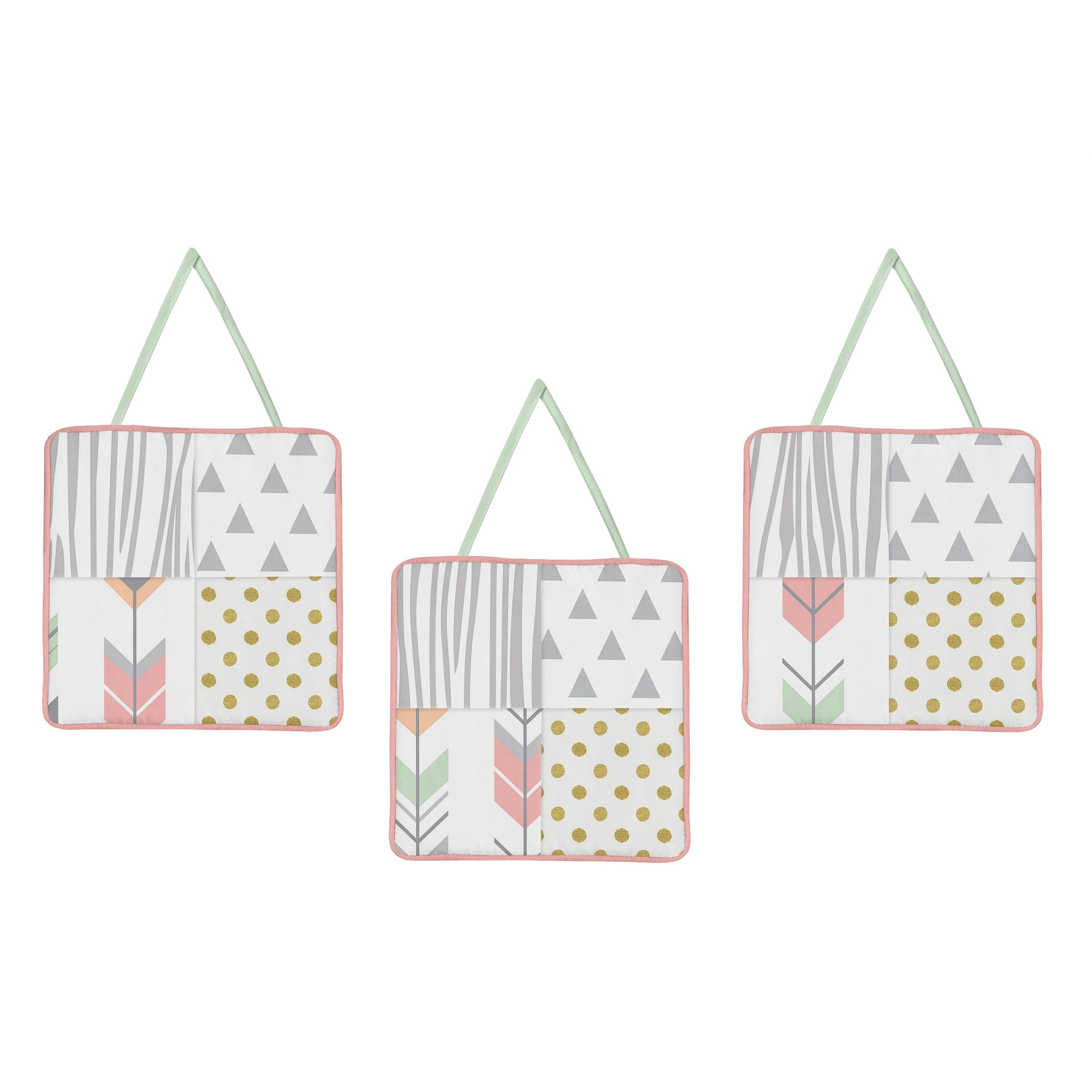 Sweet Jojo Designs Coral and Mint Woodsy Collection 3-piece Wall Hangings Set