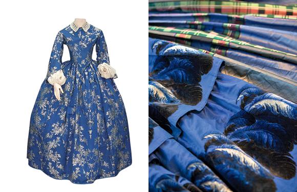 Este traje de 1855 perteneció a Jesús Mujica. Su volumen está dado por el uso de una enagua de crin, llamada crinolina.