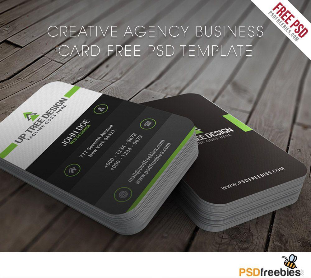 Creative Agency Business Card Free PSD Template | Card templates ...