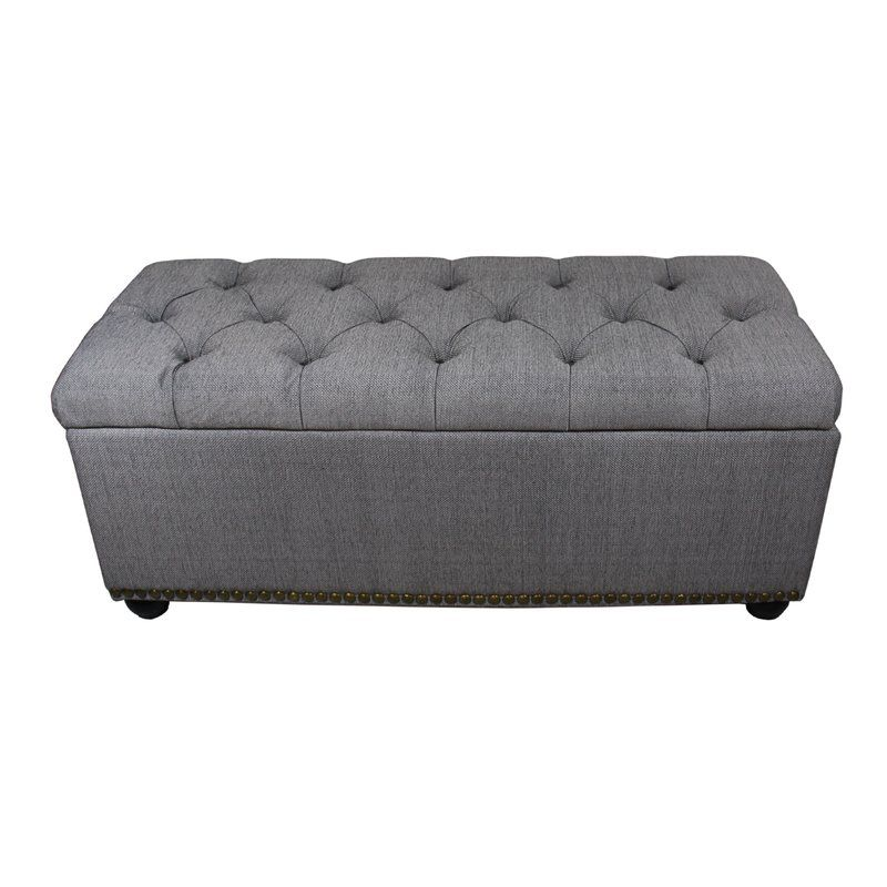 Nowell Upholstered Storage Bench Grey Storage Bench Tufted Storage Bench Upholstered Storage Bench