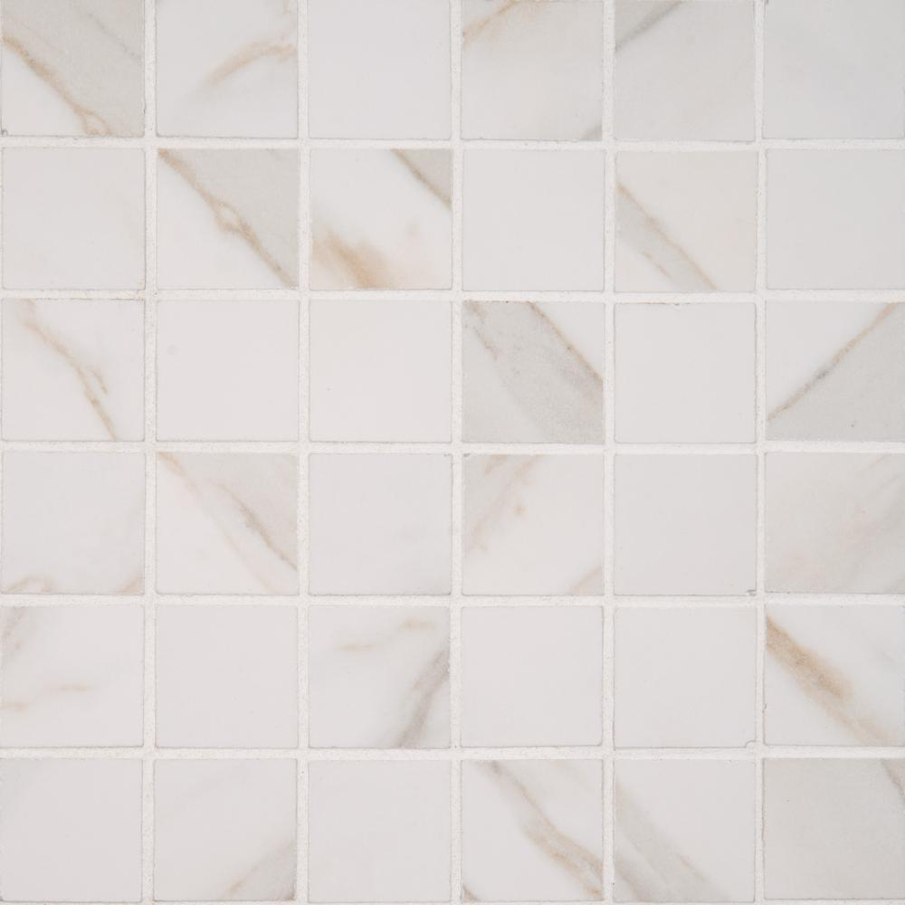 Msi Calacatta Ivory 12 In X 12 In X 10mm Polished Porcelain Mesh Mounted Mosaic Tile 8 Sq Ft Case Ncalivo2x2p Mosaic Tiles Tiles Porcelain Tile