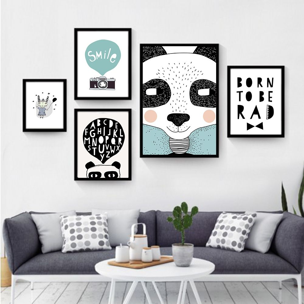 Black White Nordic Minimalist animal Love Quotes Canvas Art Print ...