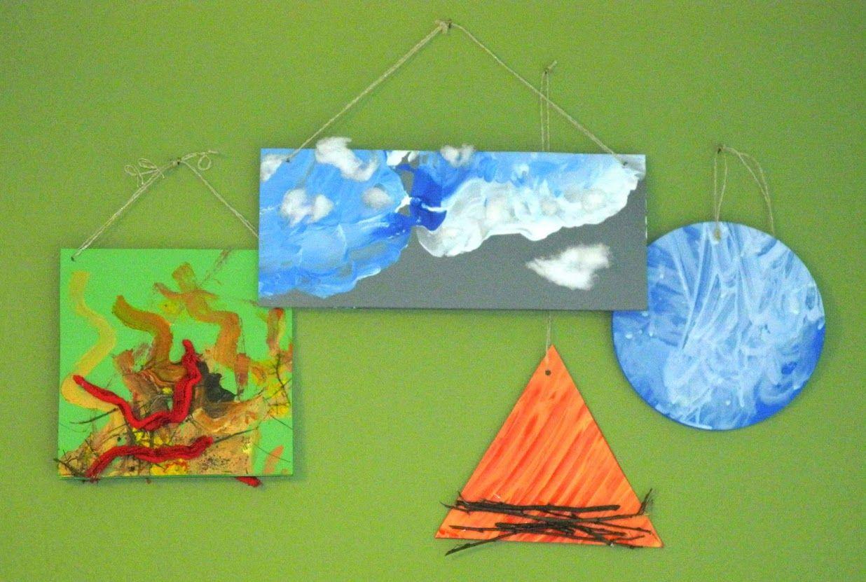 Kinder Malen Und Basteln Vier Elemente Wasser Erde Luft Feuer Feuer Wasser Erde Luft Erde Luft