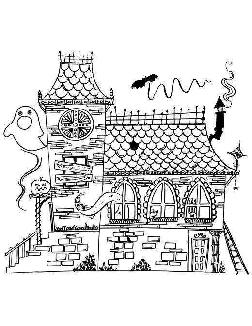 Maison hant e imprimer et colorier projets essayer - Dessin de maison hantee ...