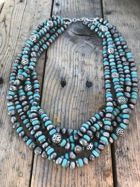 Multi Strand Turquoise and Silver Necklace