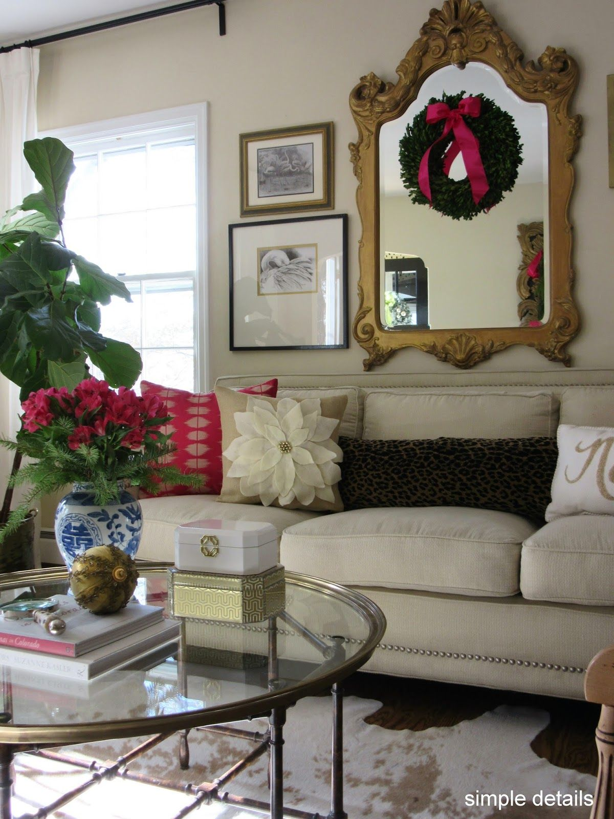 Christmas+Tour+2015+-+Neutral+with+pink+-+ornate+gold+mirror+-+Pottery+Barn+Knock+Off+Pillow.jpg (1200×1600)