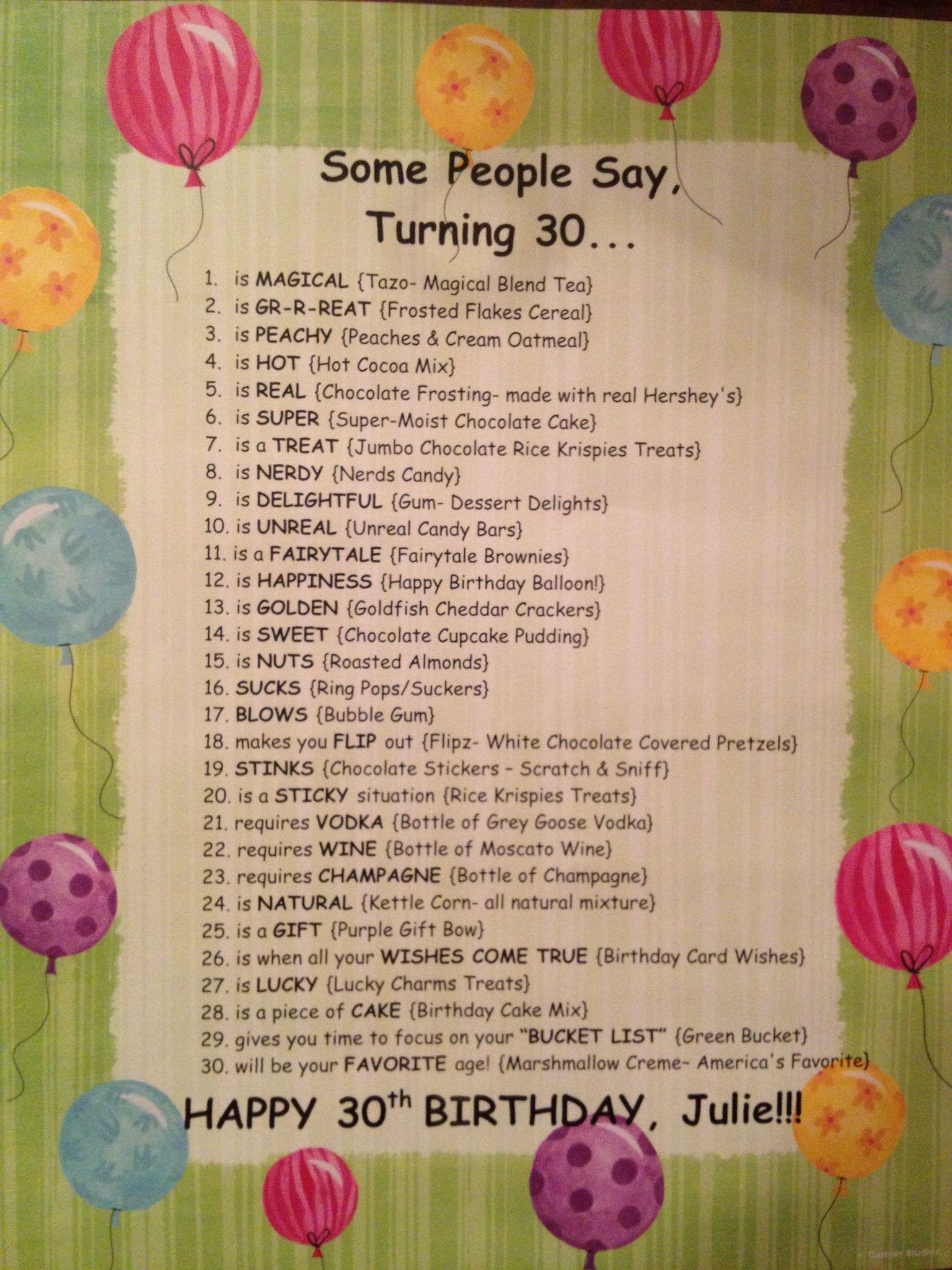Some People Say Turning 30 Birthday Basket Explanation 30th Birthday Gifts 30th Birthday Diy Birthday Gifts