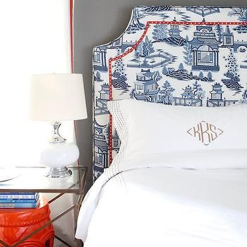 Shumacher Nanjing in Porcelain, Contemporary, bedroom, Knight Moves