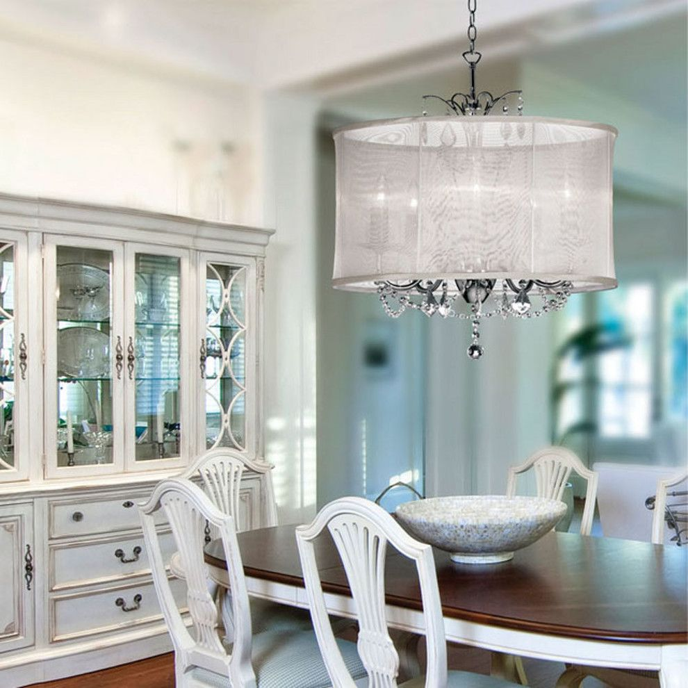 Crystal Chandeliers For Dining Room Adorable Drum Shade Crystal Chandelier Dining Room Contemporary With Chrome Design Decoration