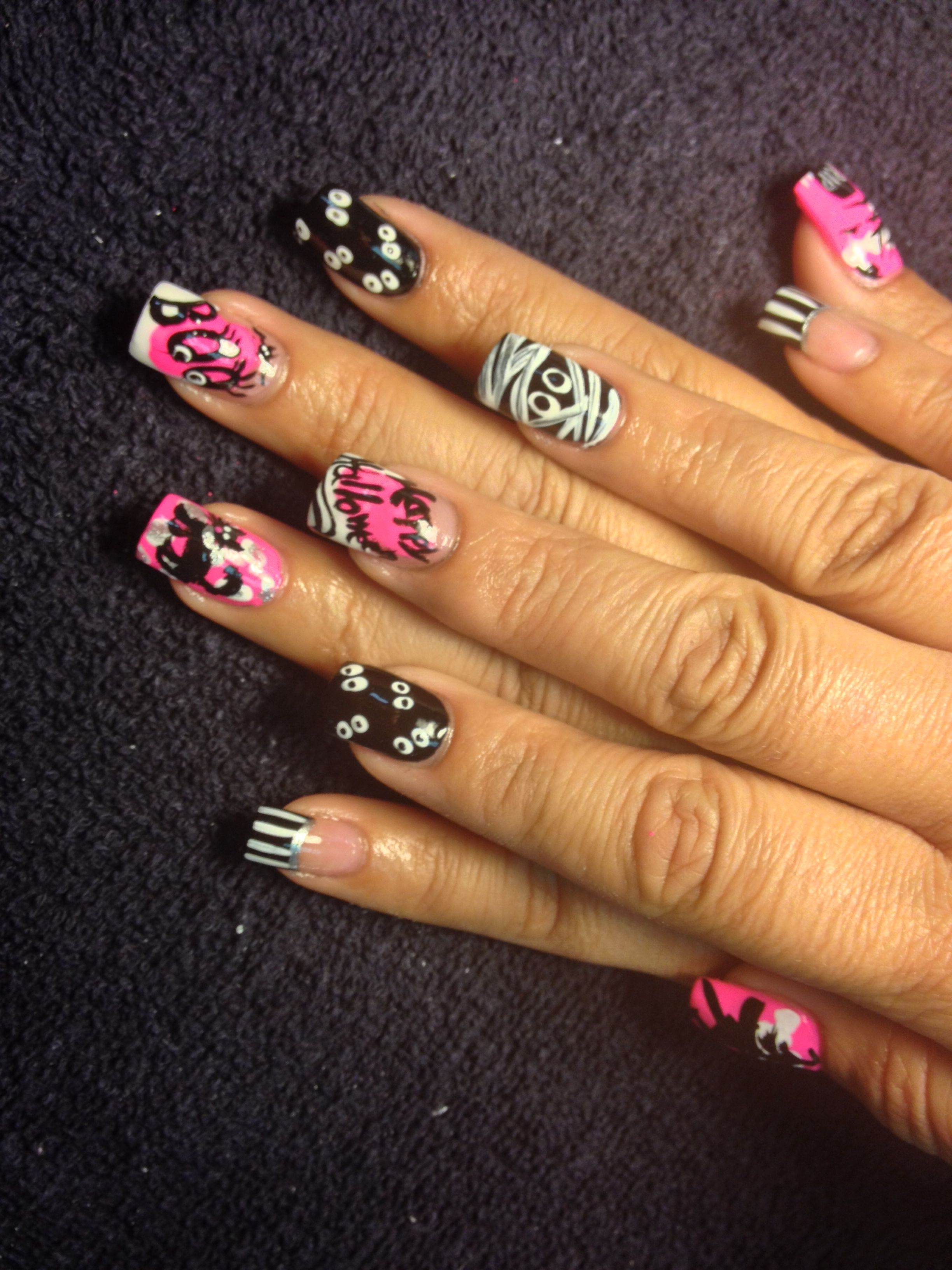 Another look at Pink Halloween nails for Octobers Breast ...