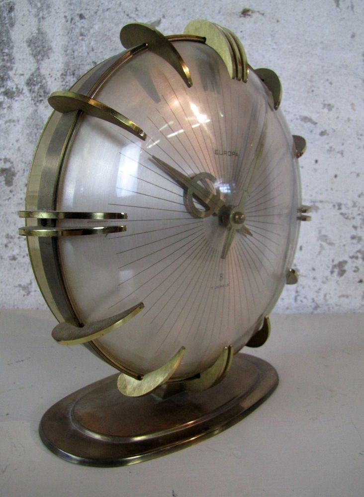 Europa Tischuhr Art Deco Uhr Bauhaus 30er 50er brass clock