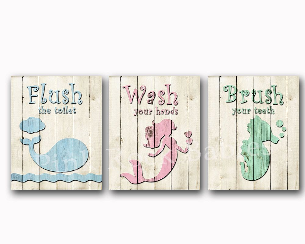 Wood wall decor neutral bathroom art rules brush wash flush kids