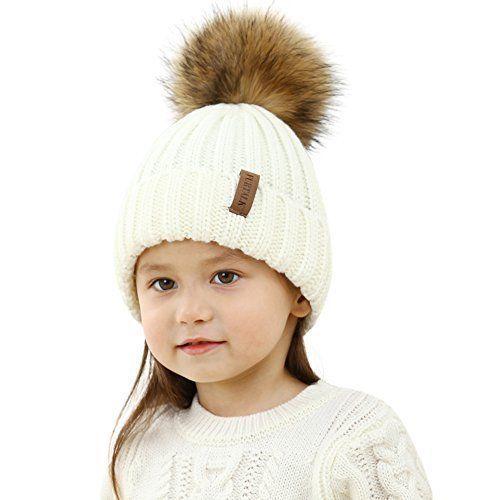 59e53b18a34 FURTALK Kids Winter Pom Hat Knitted Beanie Hats for Children Girls Boys  Original  FURTALK