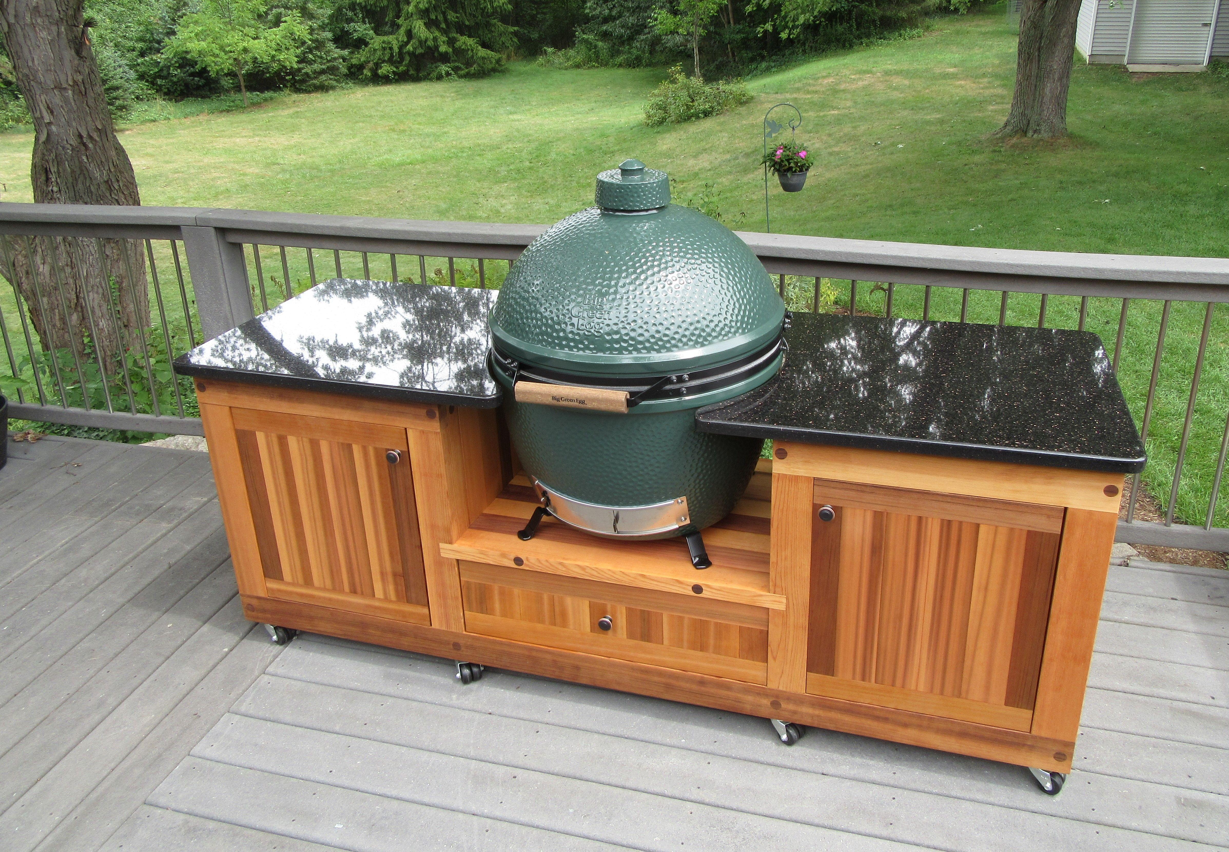Big Green Egg Table, Big Green Eggs, Granite Tops, Black Granite