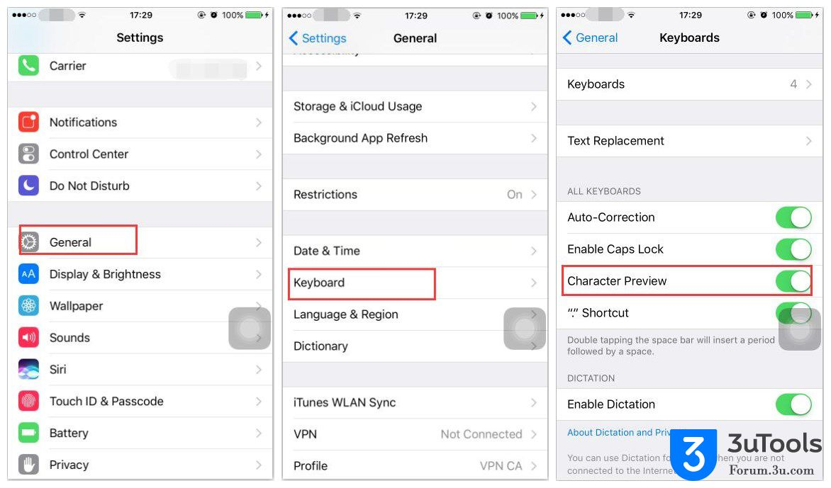 3uTools characterpreview iPhone Apple How to Turn Off