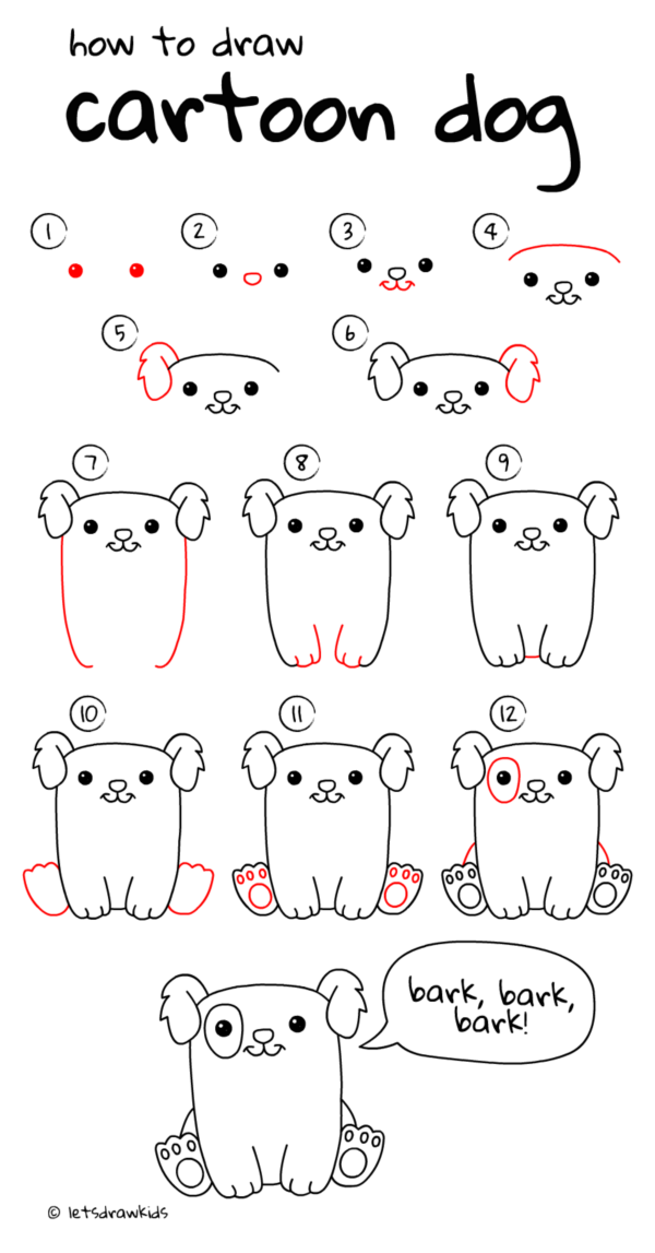 How To Draw A Dog Step By Step Easily Easy Drawings Cartoon Drawings Drawing For Kids