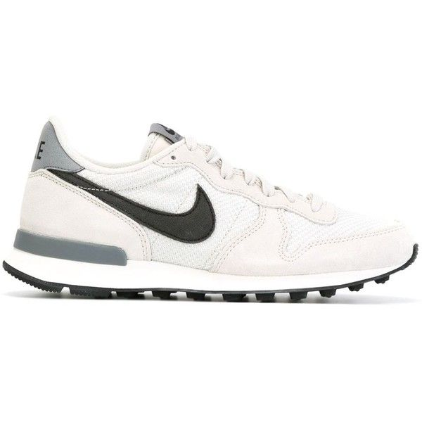 Nike Internationalist Sneakers ($94) ❤ liked on Polyvore featuring shoes, sneakers, grey, laced up shoes, almond toe shoes, nike, nike trainers and lacing sneakers