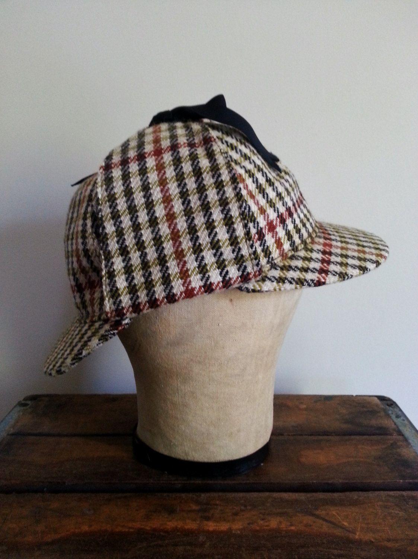 Vintage Mens Wool Tweed Houndstooth Check Plaid Sherlock Holmes Hat Cap Deerstalker Double Brim ear flap hunting trapper style hat/cap