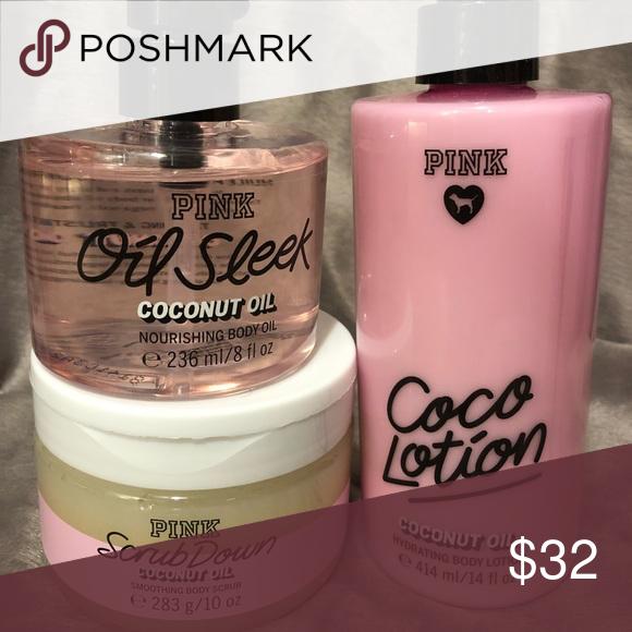 cb010a70ae1d5 VD Pink Coconut Set Coconut Oil Sleek 8oz Coco Lotion 14oz Coconut ...