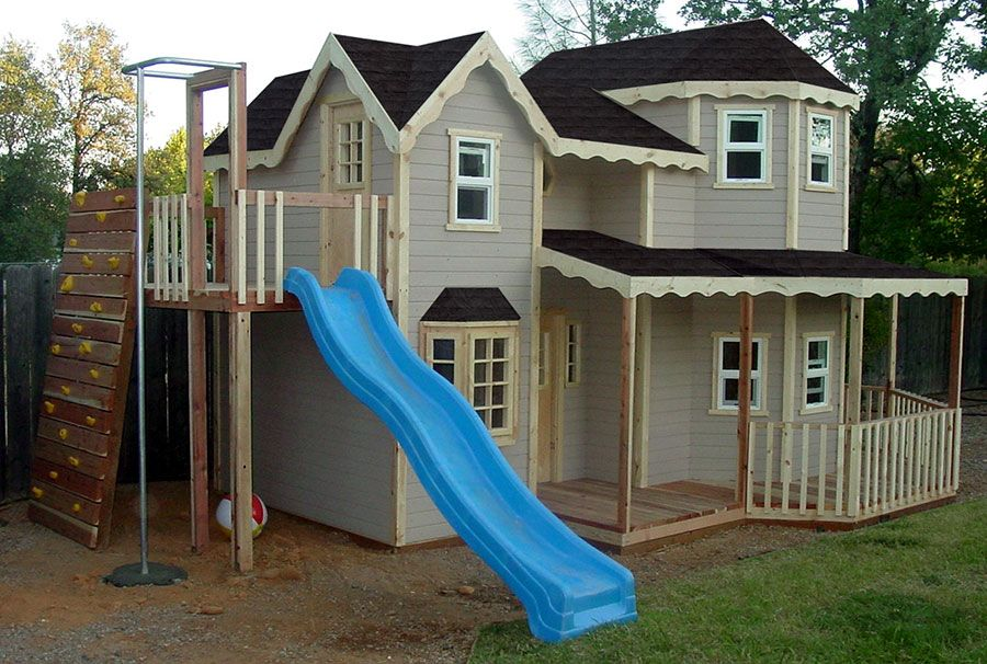 Outdoor playhouse left side | Spielhaus im freien, Kinder ...