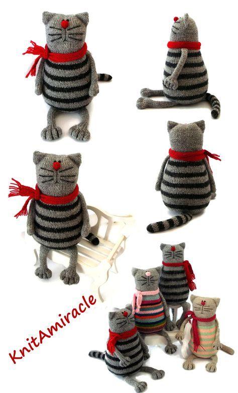 Photo of Toy cat knitting pattern PDF Knitted animal pattern Stuffed kitty making DIY toy Pablo the Serious Cat