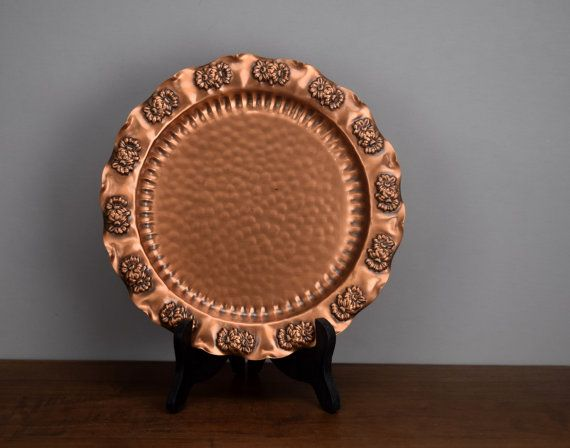 Vintage Gregorian Solid Copper Decorative Plate Hammered Copper Wall Hanging Daisy or Floral Decorated Rim & Vintage Gregorian Solid Copper Decorative Plate Hammered Copper ...