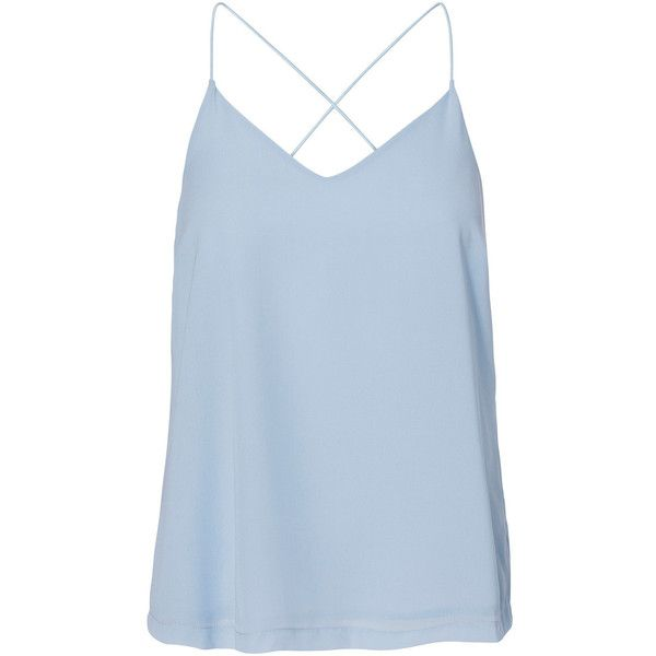 Vero Moda Crossed Shoulder Straps Sleeveless Blouse (€12) ❤ liked on Polyvore featuring tops, shirts, tank tops, tanks, blue, cashmere blue, blue sleeveless top, blue shirt, no sleeve shirt and layering tank tops