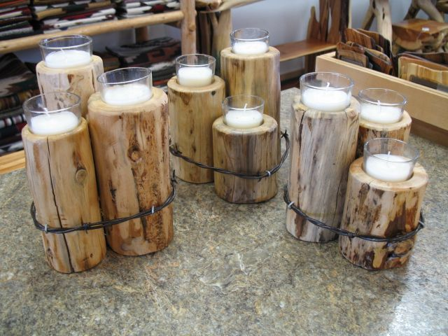 Candles in wood with barbed wire natural and naughty for Wooden candlesticks for crafts
