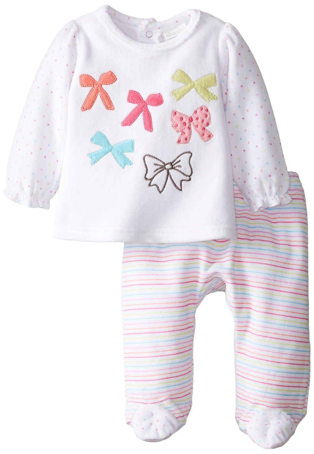4ab53b20542d Amazon.com  ABSORBA Baby-Girls Newborn Bow Velour Footed Pant Set ...