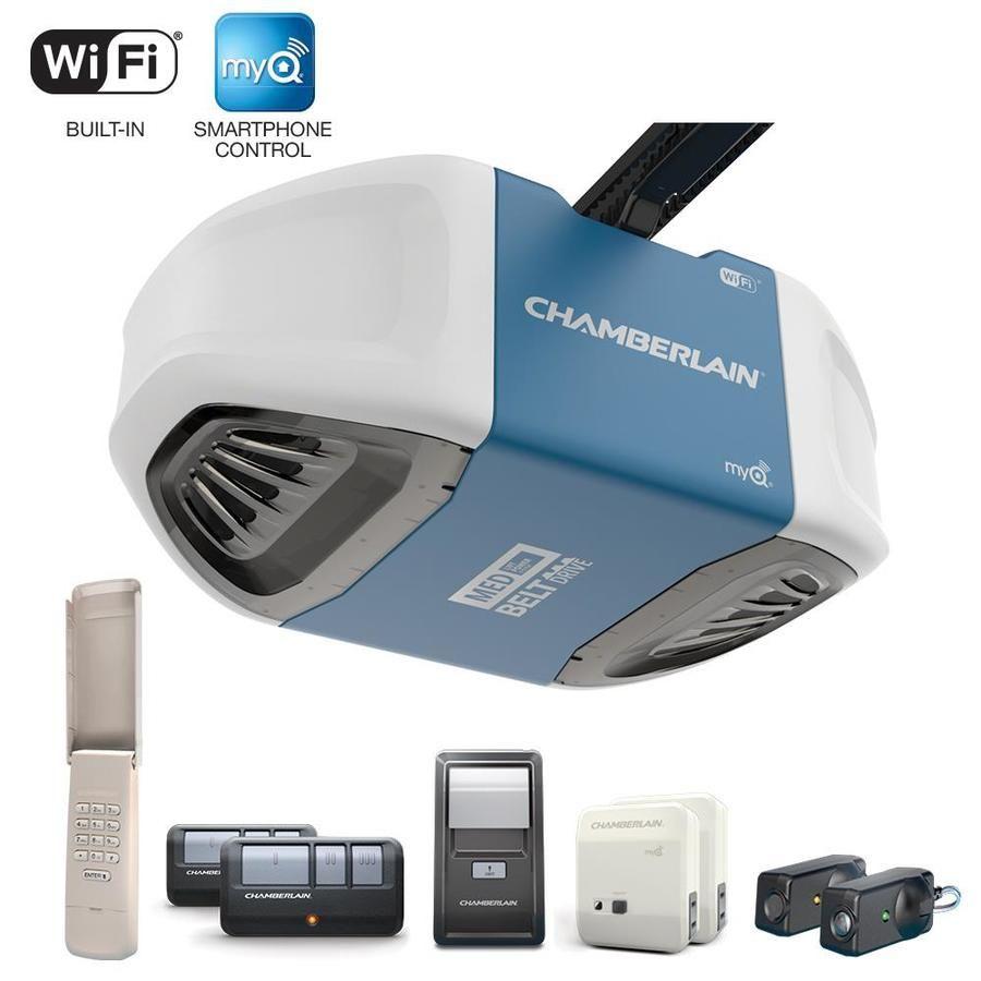 Chamberlain 0 5 Hp Belt Drive Garage Door Opener With Built In Wifi Smart Garage Door Opener Garage Door Opener Chamberlain Garage Door
