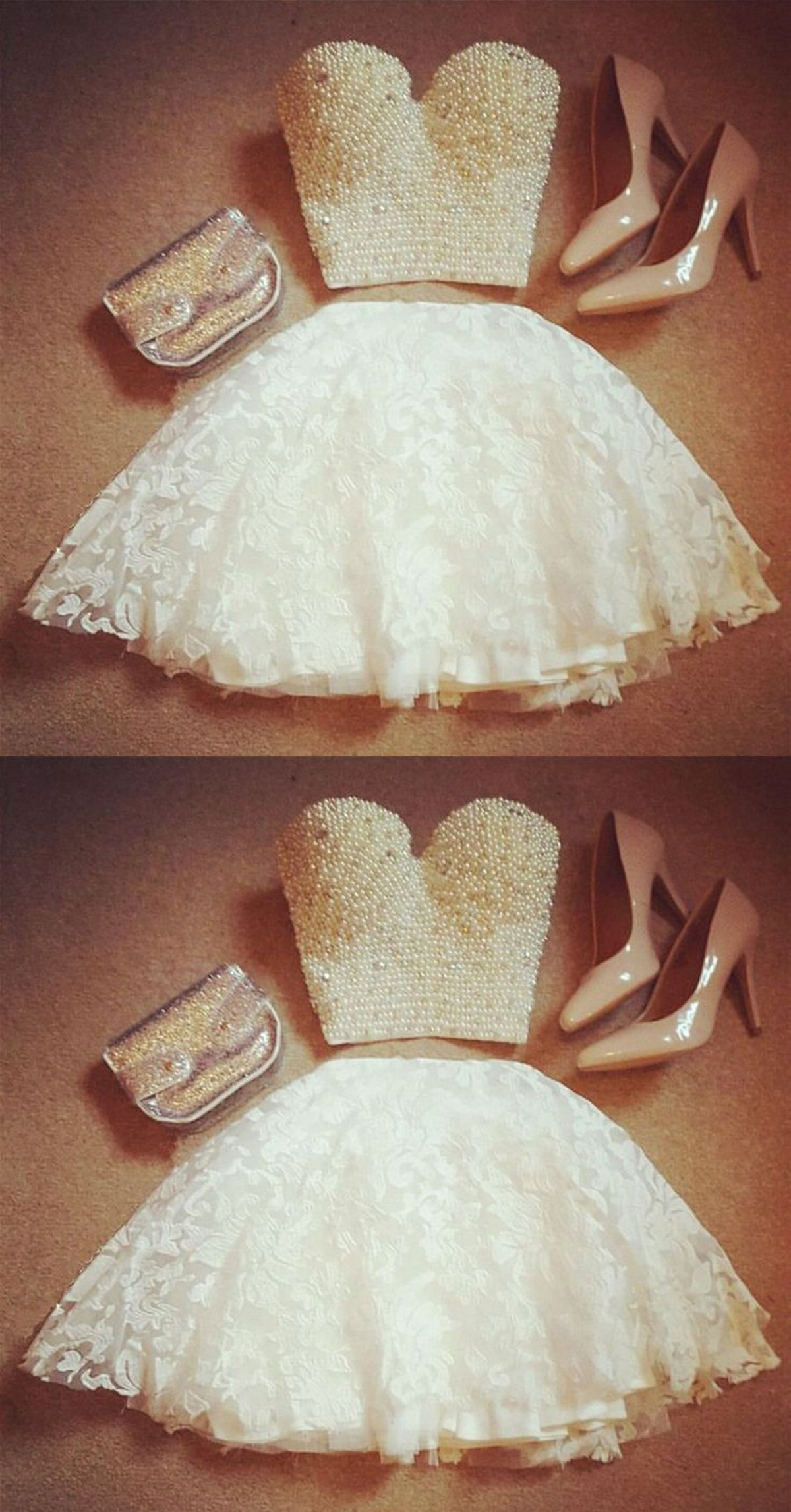 Two piece sweetheart short white lace homecoming dress with pearls