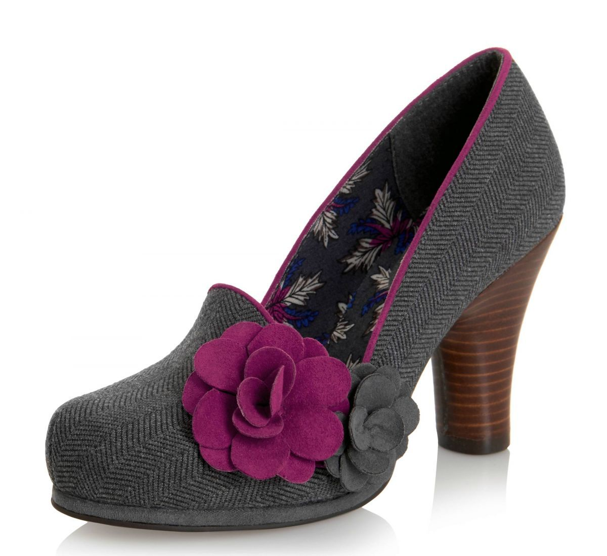 Ruby Shoo Thelma Grey Tweed High Heel Flower Court Shoes