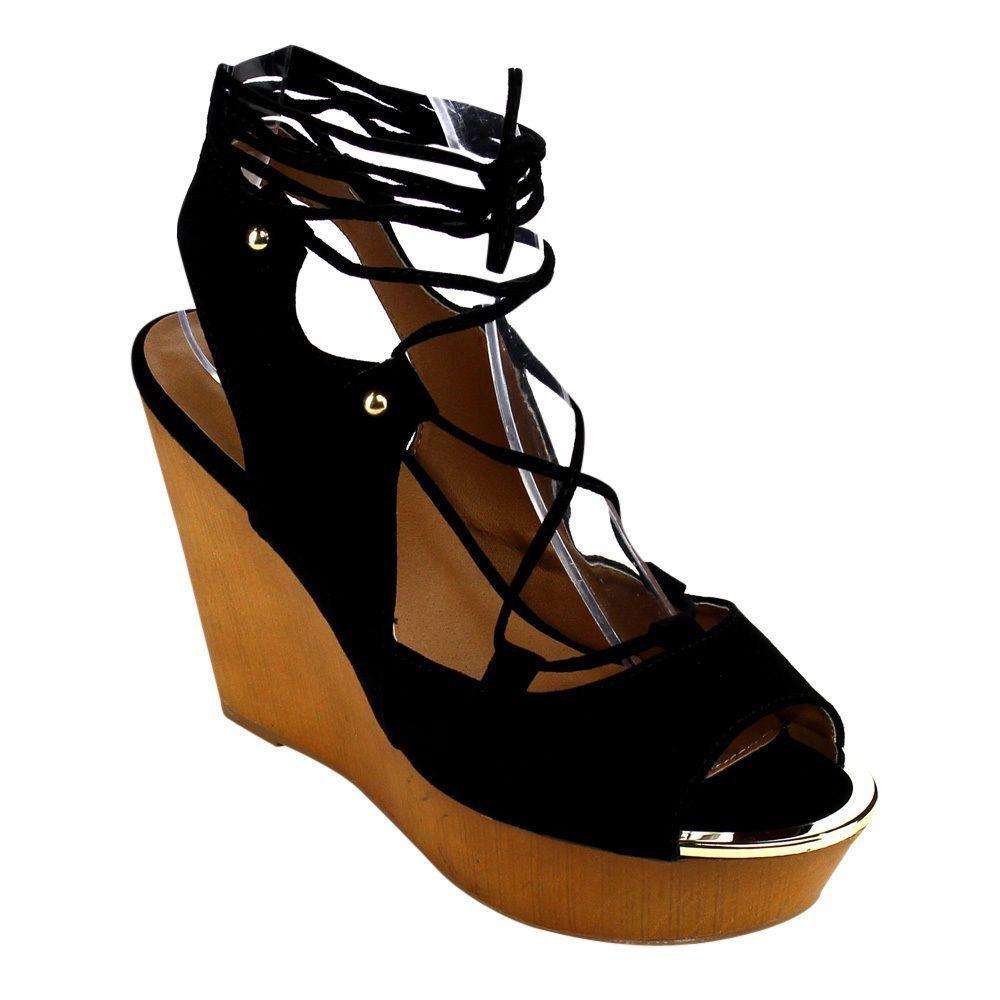 Qupid Women's FB95 Faux Corset Lace-up Crisscross Gladiator Platform Wedge Sandals