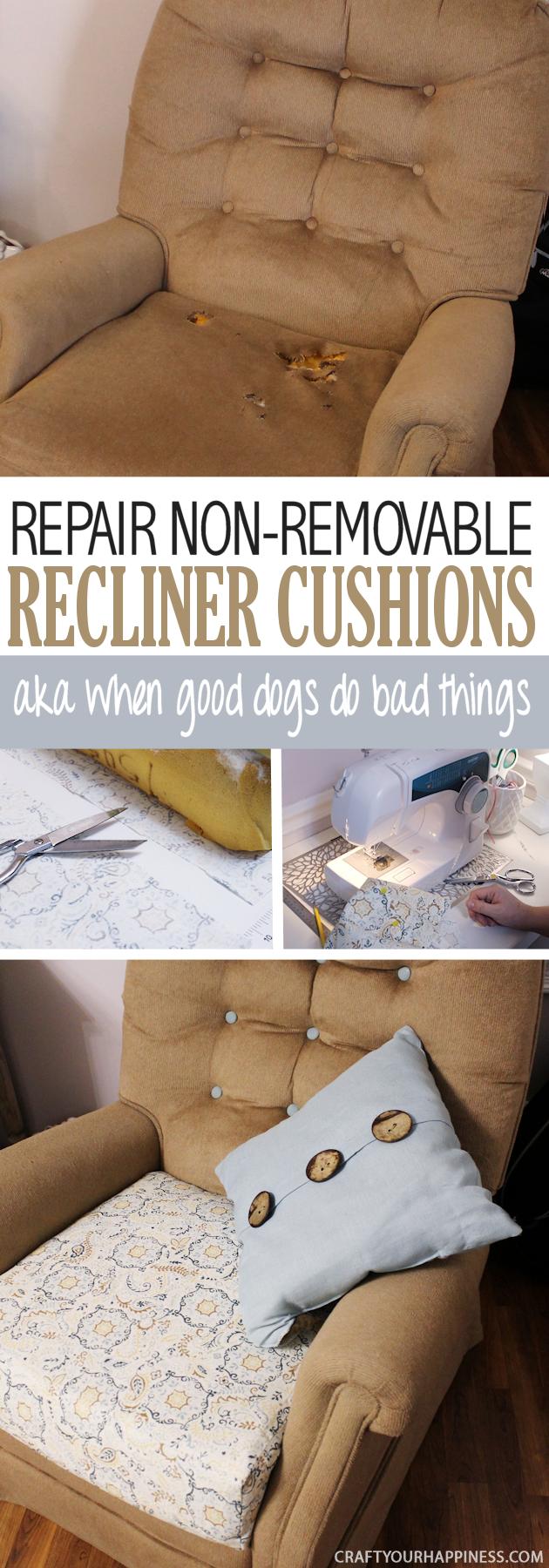 Bad design themen how to repair a recliner cushion aka when good dogs do bad things