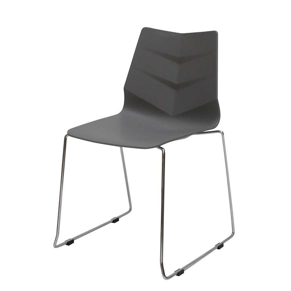 Stuhl Set in Grau Kunststoff Stahl (4er Set) Jetzt bestellen unter ...