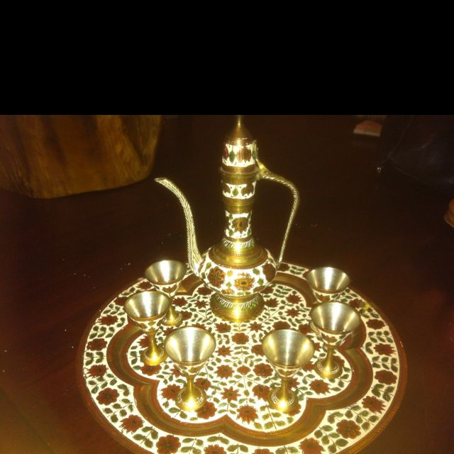 Vintage Turkish coffee pot with goblets