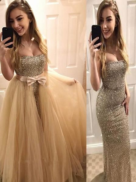 Sweetheart Beaded Two In One Bodycon Prom Dress, Mermaid