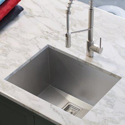 Kraus Pax Zero Radius 24 L X 19 W Undermount Single Bowl Stainless Steel Kitchen Sink Undermount Kitchen Sinks Deep Sink Kitchen Sink