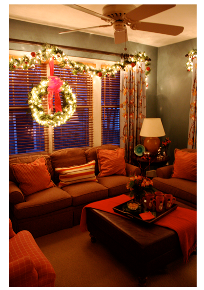 Lighted garland above the window. A holiday favorite of