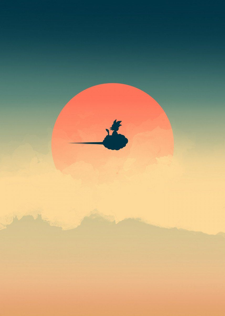 Minimalistic Goku Riding Nimbus Cloud In The Sunset Anime Shelter Shop Dragon Ball Wallpapers Dragon Ball Wallpaper Iphone Anime Dragon Ball Super
