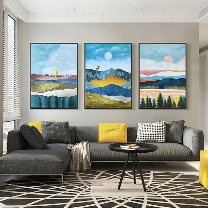 3 Pieces Abstract Painting Canvas Wall Art Pictures For Living Room Wall Decor Bedroom Home Original Acrylic Blue Moon Mountains Landscape Wall Decor Bedroom Wall Canvas Living Room Canvas