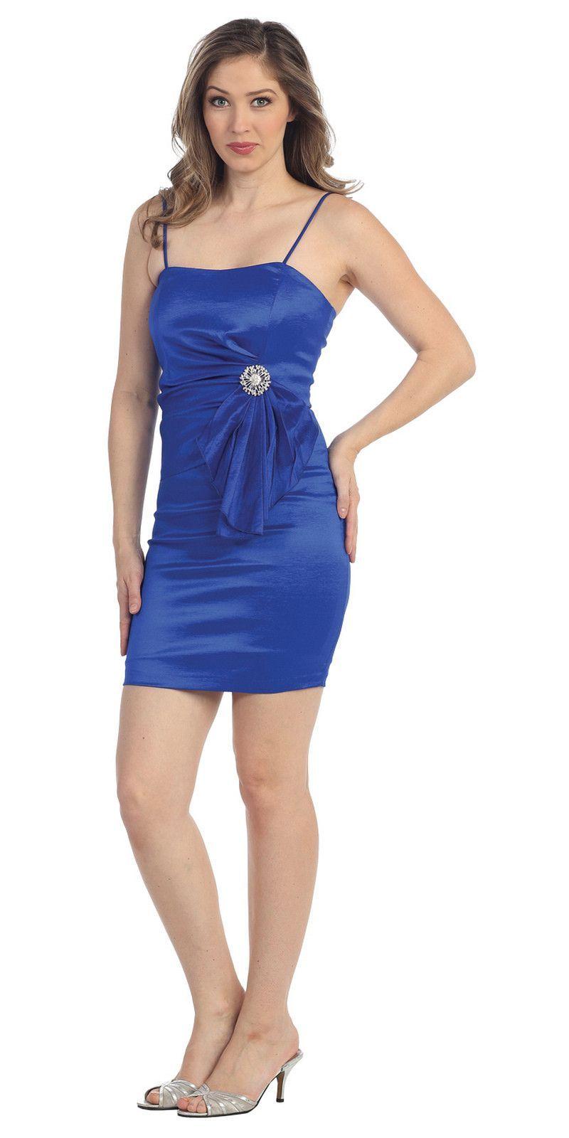 Modest Short Royal Blue Cocktail-Dress Spaghetti Straps Tight Fit ...